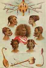 A4 Photo Stanley & Africa c1875 African tribes and instruments Print Poster