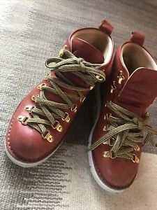 Fracap Boots Leather 37 (US 6.5) Arabian Tan, Gold Eyelets Hand Made In Italy