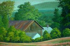 Southampton Barn , Massachusetts ; Original 1981 Oil Painting by Stanley Malek