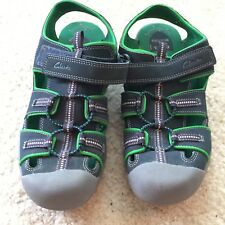 Clarks 6M Springers Fishermans Elastic Cord Bungee Lace Sandals Blue Green Shoes
