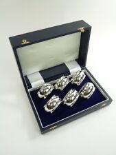 NEW - Sterling Silver - Set of 6 NAPKIN or Serviette RINGS - Barrel Shaped