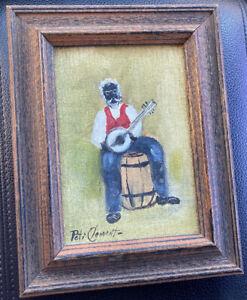"""Peti Clements Folk Art Painting """"Picking Banjos"""" Black Americana Alabama"""