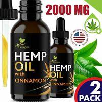 2 Pack Cinnamon Hemp Oil Extract For Pain Relief Anxiety, Sleep 2000 mg