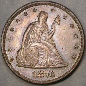 1876 LIBERTY SEATED SILVER TWENTY-CENT PIECE GORGEOUS RARE KEY ONLY 14,640 STRUK