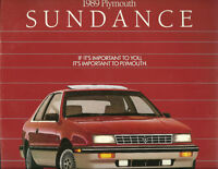 1989 Plymouth SUNDANCE Sales Brochure / Catalog with Color Chart: TURBO, RS