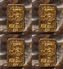 (4X) GOLD 1/3 GRAM G 24K PURE TGR PREMIUM BULLION BAR 999.9 CERTIFIED INGOT LOT*