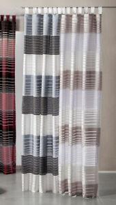 Vorhang Schlaufenschal gestreift Dekoschal silber schwarz weiß Gardine Typ202