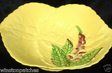 CARLTON WARE FOX GLOVE FOOTED CANDY DISH PINK FLOWERS GREEN LEAVES ON YELLOW
