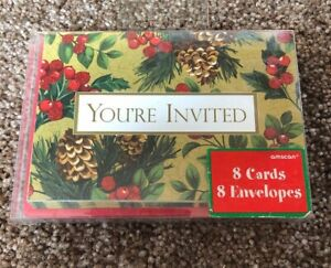 Holiday Splendor Christmas Invitations 8 Count  By Amscan NEW
