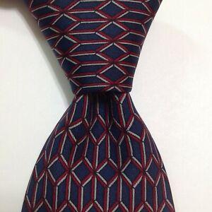 Men's Designer 100% Silk Necktie FRANCE Geometric Blue/Red/Gray Skinny EUC