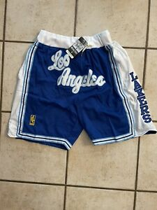 """Los Angeles Lakers """"LAKERS"""" Stitched Shorts White and Blue Sizes S-XL"""