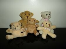 Lot of 5 Cute Little Teddy Bears Various Makers UK / USA Pink Ribbon