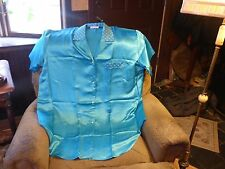AVON SCAASI KNOTCHED COLLAR SLEEPSHIRT 1X/2X TURQUOISE PACKAGED
