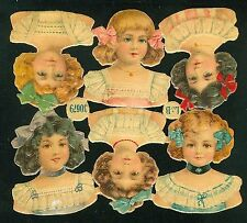6 Attached Embossed Die-cut L&B Paper Doll Heads No. 30679