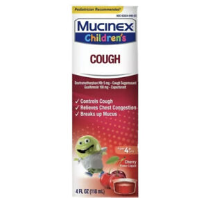 (1) Children's Mucinex Cough,Ages 4+ Cherry Flavored 4 oz EXP 01/2022 SEALED