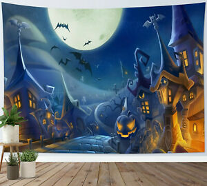 Halloween Haunted House Pumpkin Cemetery Tapestry Wall Hanging Bedspread Cover
