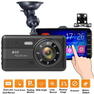 4Inch Dash Cam Touch Screen Dual Lens Car DVR Camera Video Recorder Night Vision