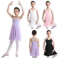 Girls Kid Camisole Ballet Dance Leotard Lyrical Dress with Ruffles Chiffon Skirt
