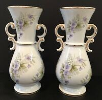 "Vintage Floral Set of 2 Urn Double Handle Porcelain 10"" Vases Made In Portugal"