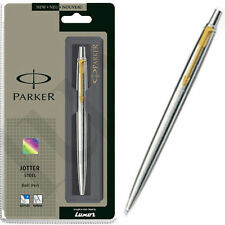 GENUINE PARKER CLASSIC STAINLESS STEEL BALL POINT PEN - GOLD TRIM - GIFT BOX