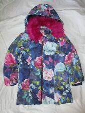 Monsoon Floral Fleece Lined Coat Detachable Faux Fur Collar &Hood Age 9-10 Years