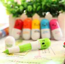 6x Mini Capsule Ballpen Cute Cartoon Smiling Face Pill Point Pen Telescopic Cool