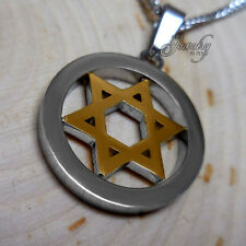 Gold & Silver Star of David Circle Pendant Necklace