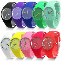 Men Women Kids Jelly Multicolors Silicone Band Quartz Analog Sports Wrist Watch