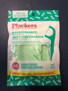 PLACKERS MINT FLOSSERS 60 COUNT DENTAL FLOSS PICK DISPOSABLE NEW In Package