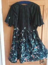 Red Herring Dress Size 14, black chinese looking short sleeve NEW