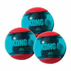 Kong squeeze action ball small 3 pk rubber,durable bouncy,squeaky,branded