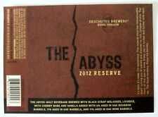 Deschutes Brewery THE ABYSS - 2012 RESERVE beer label OR 22oz