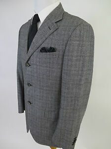 Vintage Canali Sport Coat Jacket 40 R Italy Made 1 Button Woven Wool Blue Black H62X/_1-12