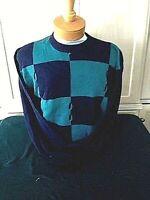 New NWT Mens Pringle Faldo Crewneck Navy M-XL Checkerboard Long Sleeve Sweater