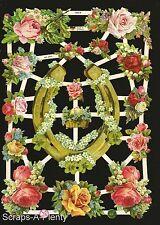 German Victorian Style Embossed Scrap Die Cut - Horse Shoe Flowers  EF7200b