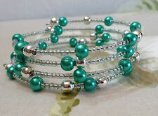 Memory Wire Bracelet Turquoise Green Glass Pearl Beads Pretty  Hand Crafted