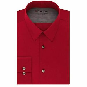 Calvin Klein Men's Collared Long Sleeve Solid Dress Shirts (Red, 14X32-33)