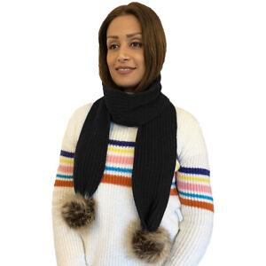 Ladies Long Warm Soft Knitted Scarf Shawl with Faux Fur Pom Pom Trim