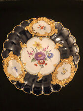 """Meissen Antique Cobalt and Gold 12"""" Floral Collector Cabinet Plate"""