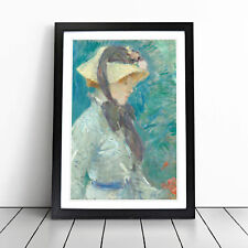 More details for young woman with a straw hat by berthe morisot wall art framed print picture