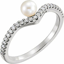 Freshwater Cultured Pearl & 1/5 CTW Diamond Asymmetrical Ring In Platinum