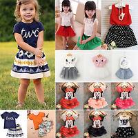 Kids Girls Princess 2Pcs Dress Set Baby T-Shirt Tops + Tutu Skirt Summer Outfits