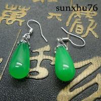 A Pair Teardrop Green Jade 925 Silver Dangle Hook Women Earrings