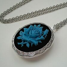 ROSE Blue on Black CAMEO LOCKET NECKLACE - Victorian Quality Gift  - SILVER PLTD