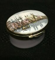 "Crummles Enamel Bonbonierre Pill Box - ""Tower of London"""