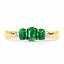 Emerald 9 Carat Three-Stone Yellow Gold Fine Rings