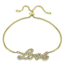 Gold Ton über Sterling Silber Zirkonia 'Love' Verstellbares Armband