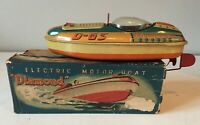 "YONEZAWA JAPAN ""DIAMOND"" D-63 TINPLATE BATTERY OPERATED  BOAT ~ ORIGINAL BOX"
