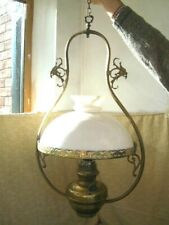 Ceiling Pendant Brass Oil Lamp Cowl Glass Vintage Antique Light Fitting