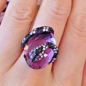 Amethyst and Black/White Diamond Snake Wrap Ring in 18k gold - HM835SS